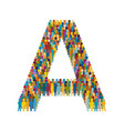 crowd people in form capital letter a flat vector image vector image