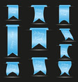 Cyan hanging curved ribbon banners set for merry
