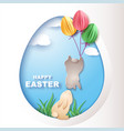 easter card with egg and rabbits vector image vector image