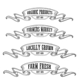 Farmers market emblem ribbon Monochrome medieval vector image vector image