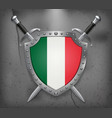 flag of italy the shield with national flag two vector image vector image