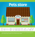 flat pets shop colorful template vector image vector image