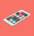 flat smartphone with app icons set on coral color vector image