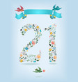 floral number twenty one with ribbon and birds vector image vector image