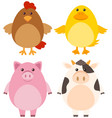 four different kinds of farm animals vector image vector image