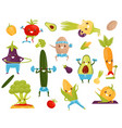funny vegetables doing sports sportive avocado vector image