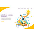 graphic design courses website landing page vector image vector image