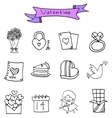 Hand draw of object valentine icons vector image vector image