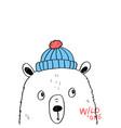 hand drawing bear print design with slogan vector image