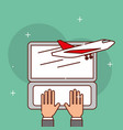 hands working laptop logistic airplane vector image