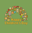 happy children day toys clothes and kids vector image vector image