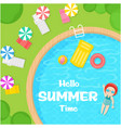 hello summer time swimming pool background vector image