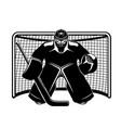 hockey goalkeeper in goal vector image