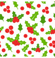holly berries seamless pattern mistletoe vector image