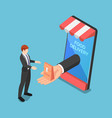 isometric businessman hand come out from vector image vector image