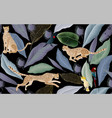 jaguars and cockatoo parrots in mystically vector image vector image