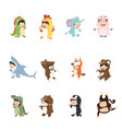 kids wearing animal in carnival costumes set vector image vector image