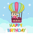 Little girl flying in a hot air balloon vector image vector image