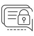 locked chat icon outline style vector image vector image