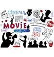 Movie-making doodle set vector image