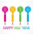 new year greeting with pencil bulb2014 vector image vector image