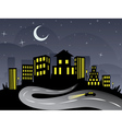 Night City and Road2 vector image vector image