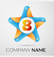 number eight logo symbol in the colorful star on vector image vector image