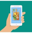 Online recipe on mobile phone in flat style vector image