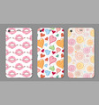 phone case collection closeup beautiful lips of vector image vector image