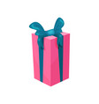 pink gift box with big blue bow present for vector image vector image