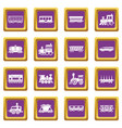 railway carriage icons set purple square vector image vector image