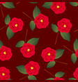 red camellia flower on red background vector image