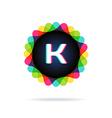 Retro bright colors Logotype Letter K vector image vector image