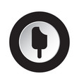 round black white button icon - stick ice cream vector image