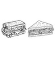 sandwiches hand drawn fast food vector image