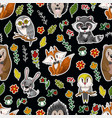 seamless pattern with cute baby animals andflowers vector image vector image