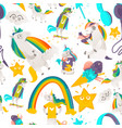 seamless pattern with unicorns stars and rainbows vector image vector image