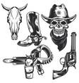 set cowboy elements vector image vector image