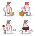 set of cleaner character with envelope box witch vector image