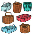 set of plastic and wicker basket vector image