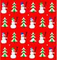 Snowman and fir seamless pattern vector image
