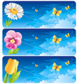 spring banner set easter mothers day birthday vector image vector image