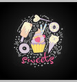 sweet fun cartoon cupcake with colored frosting vector image vector image