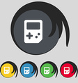 Tetris icon sign Symbol on five colored buttons vector image
