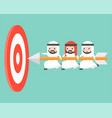 tiny arab businessmen carrying arrow to reach vector image vector image