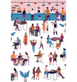 tiny people at cafe coffeehouse or espresso bar vector image vector image