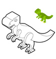 Tyrannosaurus coloring book Dinosaur isometric vector image vector image