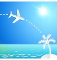 white paper plane flying to island with palm vector image vector image