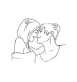 young woman embracing head of man pair of people vector image