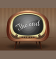 old black and white tv broadcasts end of the movie vector image